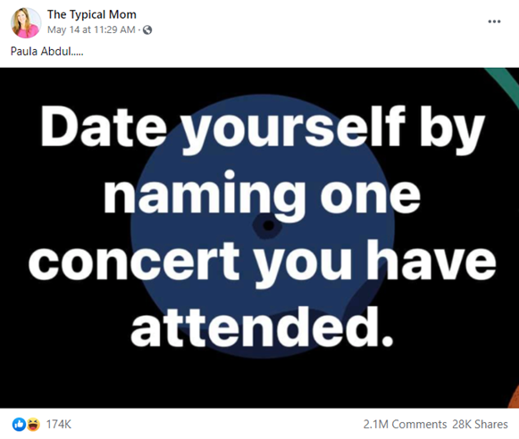 Screen capture of a Facebook post with text